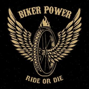 Байкерская сила. колесо с крыльями. элемент для логотипа, этикетки, эмблемы, знака, значка, футболки, плаката. иллюстрация