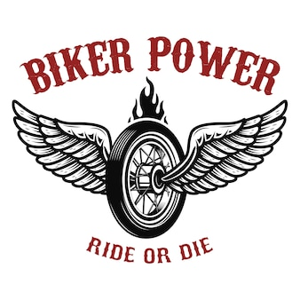 Biker power. wheel with wings.  element for logo, label, emblem,sign, badge,, t-shirt, poster.  illustration