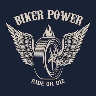 바이커 파워. 날개 달린 바퀴. 포스터, 상징, 기호, 배지 요소. 삽화