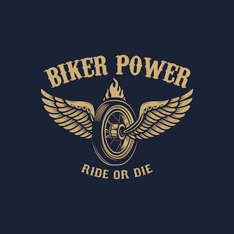 Biker power. winged wheel in golden style.  element for logo, label, emblem, sign.  image