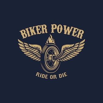 バイカーパワー。ゴールデンスタイルの翼のあるホイール。ロゴ、ラベル、エンブレム、記号の要素。画像