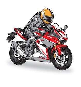 Biker racing vector