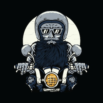 Biker rider horror illustration