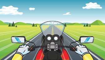 Biker rides a motorcycle