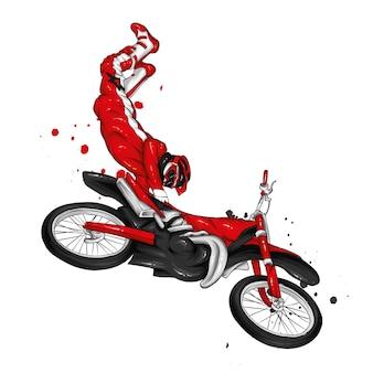 Байкер катается на старинном мотоцикле.