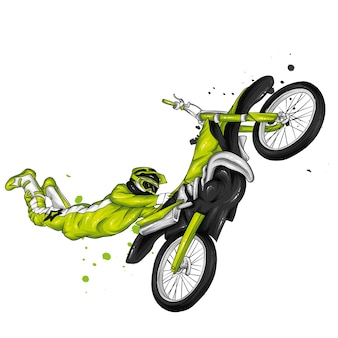 ヴィンテージバイクに乗るバイカー