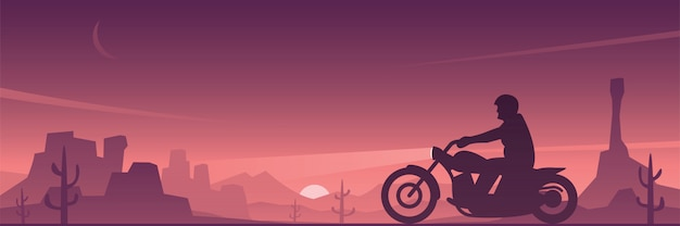 Biker riding motorcycle in the desert landscape banner