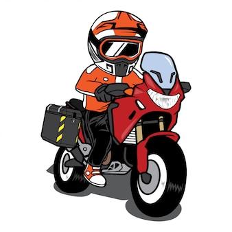Байкер езда на мотоцикле туризм мультфильм вектор