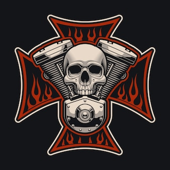 Biker's cross with a motorcycle engine. this illustration can be used as a logo, apparel s and many other uses.