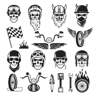 Biker set. skull bike flags wheel fire bones engine motorcycle vector icons