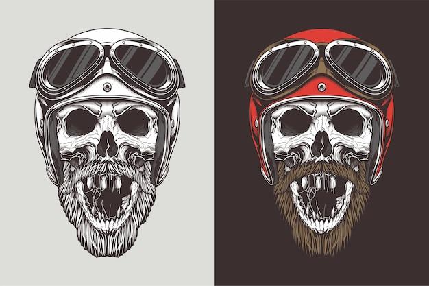 Байкерский череп в шлеме