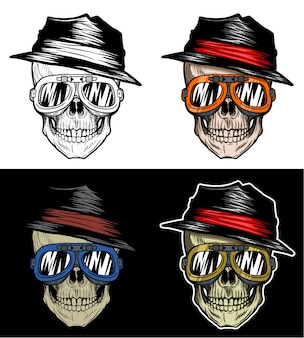 Biker skull stay cool wearing hat and goggles, hand drawing with 4 variation color