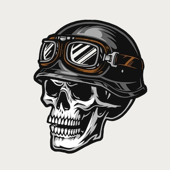 オートバイのヘルメットとビンテージスタイルの孤立したイラストのゴーグルを身に着けているバイカーの頭蓋骨