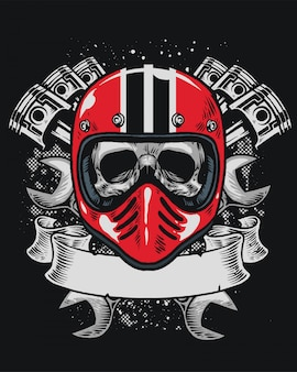 Biker skull with blank ribbon for text