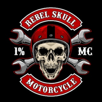 Biker skull with vintage helmet and tools, suitable for motorcycle club logo