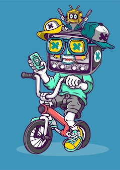 Biker tv hand drawn illustration