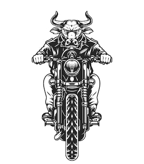 Biker with angry bull head driving motorcycle in vintage monochrome style isolated illustration