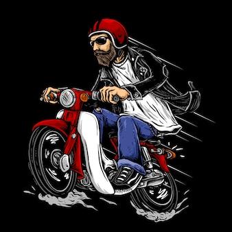 あごひげを生やしたレトロなヘルメットを持つバイカーは、小さなエンジンの古典的またはヴィンテージの日本のオートバイのイラストに乗る