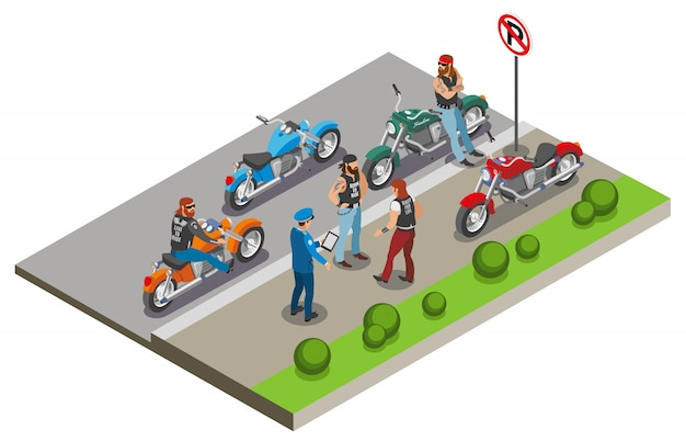 Bikers composition with images of motorcycles and human characters in street sidewalk scenery with policeman