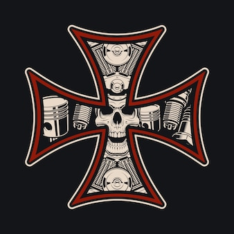 Bikers cross,  on the dark background. this  is perfect for apparel designs