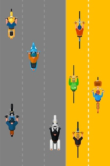 Bikers and cyclists group.  top view of cyclists people group cycling on bicycle lane and bikers riding bikes transport on city street road. transportation and traffic concept