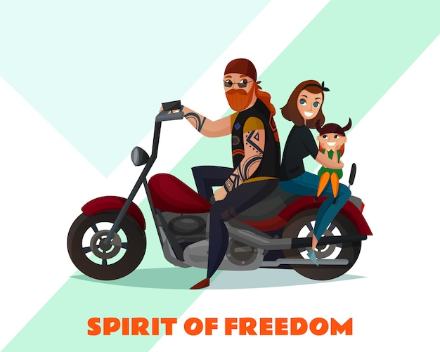 Bikers family cartoon illustration