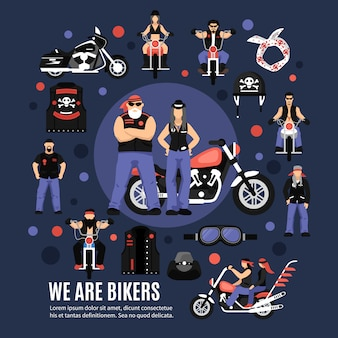 Bikers icons set