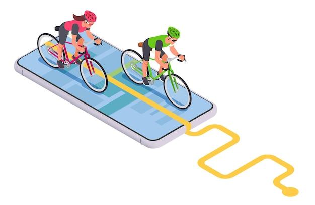 스마트폰에 자전거 타는 사람