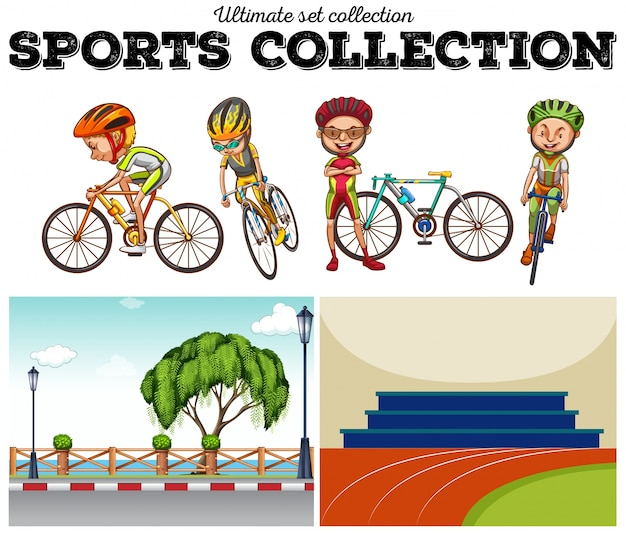 Bikers with bicycle and racing scenes illustration