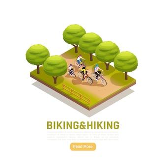 都市公園で自転車に乗る家族とのサイクリングとハイキングの等角投影図