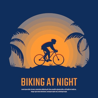 Езда на велосипеде ночью силуэт плакат, фон, баннер