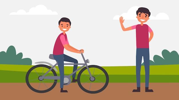 Езда на велосипеде с отцом и сыном идеальные семейные отношения проводят время вместе. дети играют важную роль в их росте и развитии, а также в типе человека. иллюстрация в плоском мультяшном стиле.