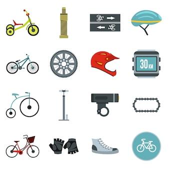 Biking icons set