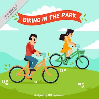 公園でサイクリング 無料ベクター