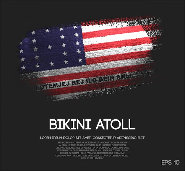 Bikini atoll flag made of glitter sparkle brush paint vector