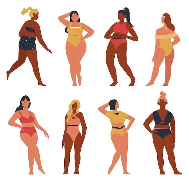 Bikini woman in various poses set illustration