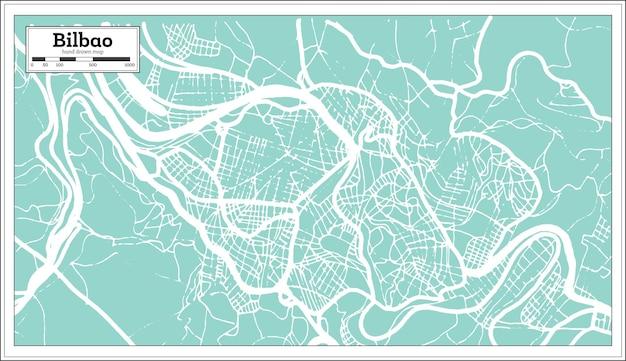 복고 스타일 빌바오 스페인 도시 지도입니다. 개요 지도. 벡터 일러스트 레이 션.
