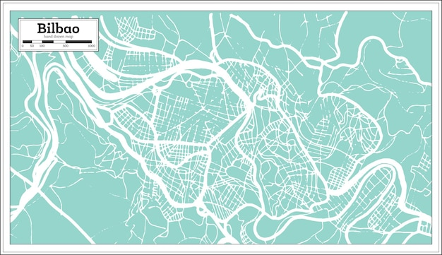 Bilbao spain city map in retro style. outline map. vector illustration.