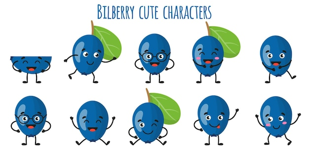 Bilberry fruit cute funny cheerful characters with different poses and emotions. natural vitamin antioxidant detox food collection.   cartoon isolated illustration.
