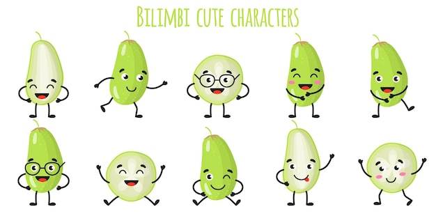 Bilimbi fruit cute funny cheerful characters with different poses and emotions. natural vitamin antioxidant detox food collection.   cartoon isolated illustration.