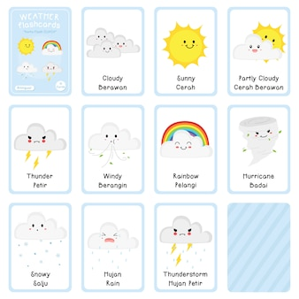 Bilingual weather flashcards vector design