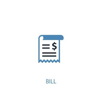 빌 개념 2 컬러 아이콘입니다. 간단한 파란색 요소 그림입니다. 빌 개념 기호 디자인입니다. 웹 및 모바일 ui/ux에 사용할 수 있습니다.