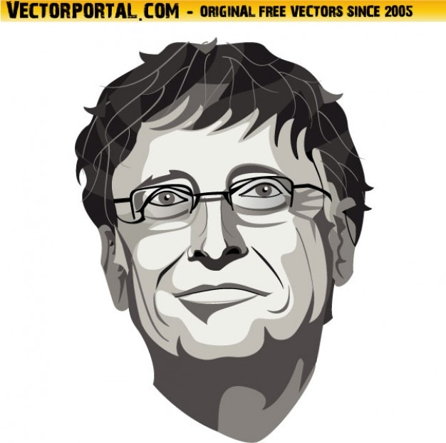 Bill gates face closeup in black and white colors