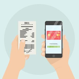 모바일 뱅킹 앱으로 청구서 결제. 남자는 종이 수표, 영수증, 송장, 전화 주문을 지불하고 있습니다.