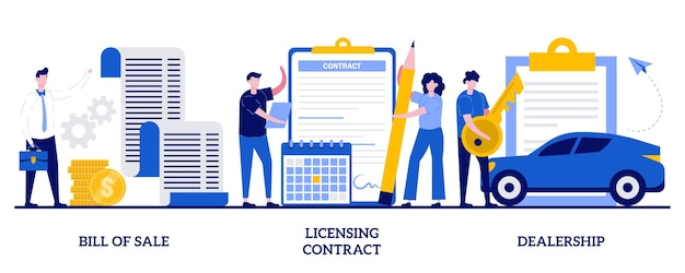 Bill of sale, licensing contract, dealership concept with tiny people. business documents  illustration set. intellectual property agreement, authorized dealer, electronic signature metaphor.