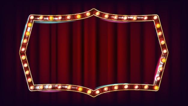 Ретро billboard вектор. сияющий свет доска объявлений. 3d электрический светящийся элемент. урожай золотой неоновой подсветкой. карнавал, цирк, казино стиль. иллюстрация