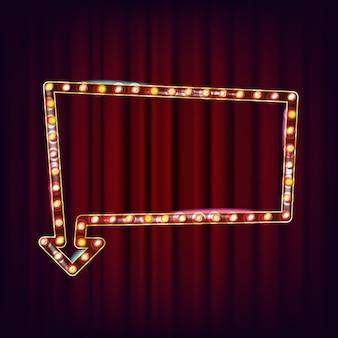 Ретро billboard вектор. сияющий свет доска объявлений. реалистичная рамка лампы. 3d светящийся элемент. винтаж неоновой подсветкой. карнавал, цирк, казино стиль. иллюстрация