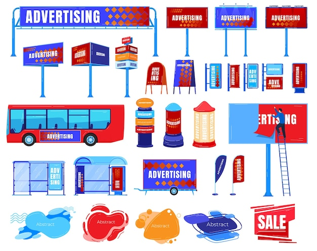 看板広告ベクトルイラストセット。漫画フラットビジネス広告ボードテンプレートマーケティングプロモーション広告路上バス、広告主