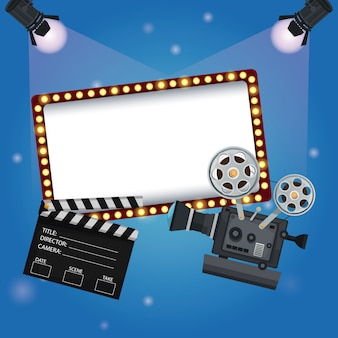 Billboard banner with clapperboard and movie film projector
