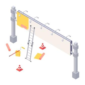 Изометрическая иллюстрация установки афиши - процесс наклеивания рекламы на большой город. изометрический рекламный щит с лестницей, ковшом и роликом для установки наружной рекламы.
